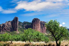 Mallos de Riglos icon shape mountains in Huesca Aragon Spain. Mallos de Riglos icon shape mountains in Huesca Aragon Stock Images