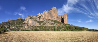 Mallos de Riglos mountains, panoramic shot. In Huesca Aragon Spain Stock Images