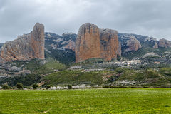 Mallos De Riglos are the picturesque rocks in Huesca Spain. Mallos De Riglos are the picturesque rocks in Huesca province of Spain Stock Image