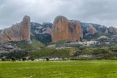 Mallos De Riglos are the picturesque rocks in Huesca Spain. Mallos De Riglos are the picturesque rocks in Huesca province of Spain Stock Image