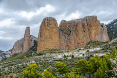 Mallos De Riglos are the picturesque rocks in Huesca Spain. Mallos De Riglos are the picturesque rocks in Huesca province of Spain Stock Photo