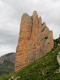 Mallos de Riglos rock fromation 'fuego'. Mallos de Riglosset ofconglomeraterock formationsAragon,Spain. spectacular view on a sunny day. Unusual shaped Stock Image