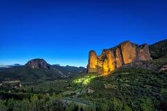 Mallos De Riglos rocks at night. Huesca province, Aragon, Spain Royalty Free Stock Photo