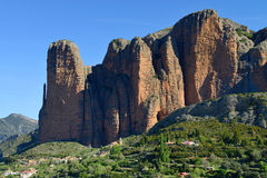 The Mallos de Riglos, set of conglomerate rock formations near H. Uesca, Aragon, Spain. Spring morning Stock Photo