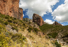 Mallos de Riglos. View of the Mallos de Riglos, is a cloudy day. It is located in the Spanish province of Huesca along the Pyrenees Royalty Free Stock Photography