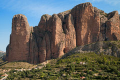 The Mallos. In Riglos, Aragon, Spain Stock Photo