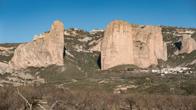 Mallos of Riglos in Huesca, Spain. Detailed view of Mallos of Riglos against blue sky, Huesca (Spain Stock Photos