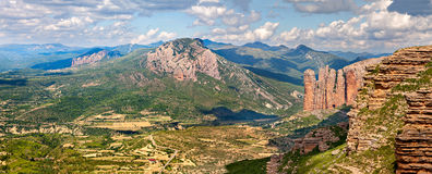 Mallos of Riglos panorama. In Huesca, Spain Stock Photo