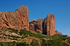 Mallos Riglos Rock Formation. The Rock formations of Mallos Riglos in Spain Royalty Free Stock Images