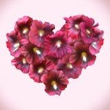 Mallow Floral καρδιά για την ημέρα βαλεντίνων η αγάπη ανασκόπησης κόκκινη αυξήθηκε λευκό συμβόλων Στοκ εικόνα με δικαίωμα ελεύθερης χρήσης