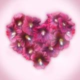 Mallow Floral καρδιά για την ημέρα βαλεντίνων Σύμβολο αγάπης στο ρομαντικό s Στοκ Εικόνα