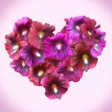 Mallow Floral καρδιά για την ημέρα βαλεντίνων Σύμβολο αγάπης στο ρομαντικό s Στοκ φωτογραφίες με δικαίωμα ελεύθερης χρήσης