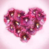 Mallow Floral Heart for Valentine day. Love symbol in romantic s Stock Image