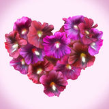 Mallow Floral Heart for Valentine day. Love symbol in romantic s Royalty Free Stock Photos