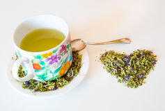 Mallow herbal tea cup Royalty Free Stock Images