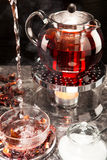Mallow tea in glas. Mallow tea is freshly brewed Royalty Free Stock Images