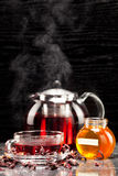 Mallow tea in glass. Cup with honey Stock Photography