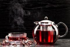 Mallow tea in glass Stock Photos
