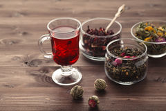 Mallow tea in glass with dried mallow blossoms Royalty Free Stock Photography