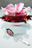 Mallow tea. Mallow sugar and tea with fresh and dried petals Royalty Free Stock Photo
