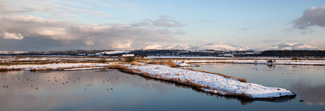 Malltreath Ponds. Views around Malltreath Pools and Snowdonia National Park in winter Stock Image