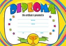 Mallvektor av det barndiplomet eller certifikatet som ska tilldelas Royaltyfri Fotografi