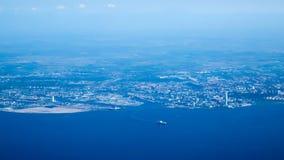 Malmö, Suécia vista de um avião imagem de stock royalty free