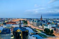 Malmö在夜,瑞典之前 免版税图库摄影