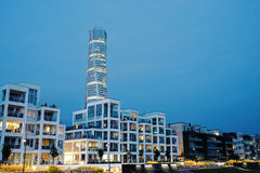 Malmö beachfront. New buildings in Malmo at dusk Royalty Free Stock Photos