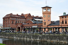 Malmö Central Station. Exterior of Malmö Central Station with water in foreground, Sweden Stock Image
