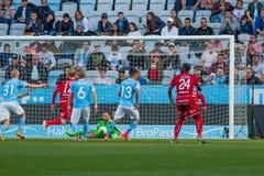 Malmö FF vs Östersuns FK. Fotball / Soccer game between Malmö FF MFF and Östersuns FK 14th may 2017 Stock Photography
