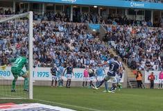 Malmö FF vs IFK Norrköping. Swedish Premier Legue Allsvenskan Fotball Soccer Result 1 - 2 Goals: Malmö FF : Rosenberg. IFK Norrköping Sjölund, Holmberg Royalty Free Stock Images