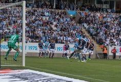 Malmö FF vs IFK Norrköping. Swedish Premier Legue Allsvenskan Fotball Soccer Result 1 - 2 Goals: Malmö FF : Rosenberg. IFK Norrköping Sjölund, Holmberg Stock Photos