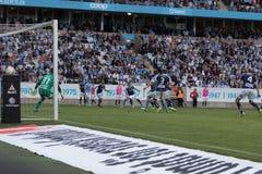 Malmö FF vs IFK Norrköping. Swedish Premier Legue Allsvenskan Fotball Soccer Result 1 - 2 Goals: Malmö FF : Rosenberg. IFK Norrköping Sjölund, Holmberg Royalty Free Stock Photos