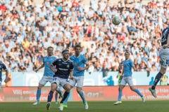 Malmö FF vs IFK Norrköping. Swedish Premier Legue Allsvenskan Fotball Soccer Result 1 - 2 Goals: Malmö FF : Rosenberg. IFK Norrköping Sjölund, Holmberg Royalty Free Stock Image