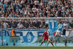 Malmö FF vs IFK Norrköping. Swedish Premier Legue Allsvenskan Fotball Soccer Result 1 - 2 Goals: Malmö FF : Rosenberg. IFK Norrköping Sjölund, Holmberg Royalty Free Stock Photography