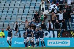 Malmö FF vs IFK Norrköping. Swedish Premier Legue Allsvenskan Fotball Soccer Result 1 - 2 Goals: Malmö FF : Rosenberg. IFK Norrköping Sjölund, Holmberg Stock Photo