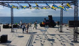 Malmö Sail Week. 5th August 2015. Day one of Malmö Sail Week 2015. and Red Bull Foiling Generation, Red Bull Events. Small crowd watching the training on royalty free stock images