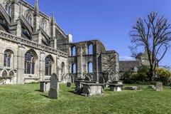 Malmesbury Abbey eastern end. Malmesbury Abbey, showing ruins at south-eastern corner Royalty Free Stock Photos