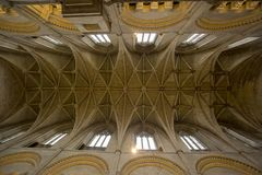 Malmesbury Abbey 14th Century Vaulted Ceiling. The 14th century vaulted ceiling in the nave of Malmesbury Abbey in Wiltshire England.  This has some fine bosses Royalty Free Stock Photography