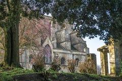 Malmesbury Abbey View der Rückseite des Gebäudes Stockfoto