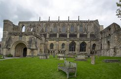 Malmesbury Abbey  in Wiltshire England. Malmesbury Abbey is a fragment of the original building much of which collapsed in the 18th Century.  The abbey is now Stock Images