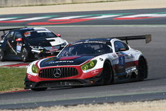12 malmHankook Mugello 18 mars 2017: #1 Hofor-Racing, Mercedes AMG GT3 Arkivbild