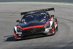 12 malmHankook Mugello 18 mars 2017: SPORT RACING, Mercedes AMG GT3 för #17 IDEC Royaltyfria Foton