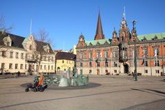 Malmo. SWEDEN - MARCH 8: People visit the main square on March 8, 2011 in , Sweden. After Stockholm and Gothenburg,  is the 3rd most visited city in Sweden Royalty Free Stock Photo