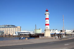Malmo. Sweden - cityscape with the lighthouse. City in Scania county (Skane in Swedish) and Oresund region Stock Photography