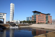 Malmo. Sweden - city skyline with famous Turning Torso. City in Scania county (Skane in Swedish) and Oresund region Stock Photography