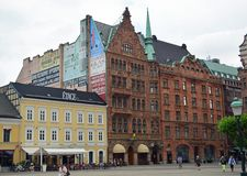 Malmo Old town. Malmo architecture in the on Stortorget, Gamla Staden. Large Square in the old town Stock Image