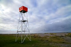 Malmo beach Lifeguard tower. Empty lifeguard tower on beach in Malmo, Sweden Stock Image