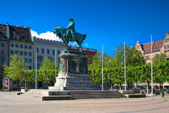 Malmo Charles Gustav statue. Malmo, Sweden - June 27, 2010: The big square and the statue of king Charles X Gustav. Malmo is Sweden's third largest city dates Stock Photo